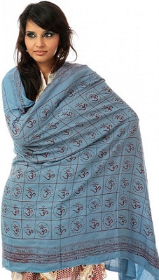 Blue Prayer Shawl with Maroon Printed Om