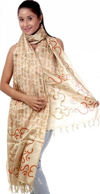 Om Gayatri Mantra Prayer Shawl - Pure Tussar Silk (red)