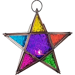 Glass & Metal Candle Lantern 5 Point Star - Multi Color