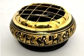 Charcoal Burner - Black Carved w/ Brass Screen & Wooden Coaster<br><br>