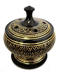 Black Carved Brass Burner. Ideal for: Resin Incense, Smudge Pot, Cone or Stick Incense 3