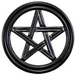 Pentacle Wooden Wall Hanging - 12''D <br><br>