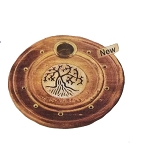 Incense Burner - Round Wooden Incense Burner Tree Of Life