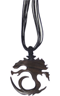 Tree Spiral Wood Pendant with Black Cord