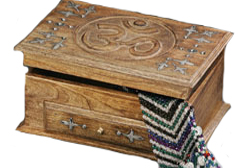 Wooden Box - Hand Carved Wood OM Box