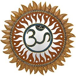 Om Wood Mirror Mosaic Wall Decor