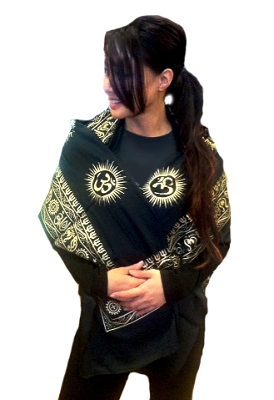 Black Prayer Shawl with Large Printed Om