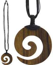 Spiral Wood Pendant with Black Cord