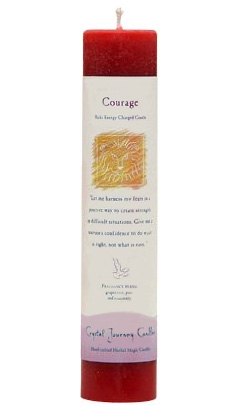 Crystal Journey Herbal Magic Pillar Candle - Courage