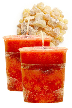 Frankincense Crystal Journey Traditional Votive Candles [ 2 ]