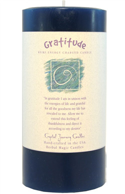 Crystal Journey Herbal Magic Pillar Candle 3X6 - Gratitude