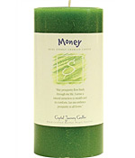 Crystal Journey Herbal 3X6 Pillar Candle - Money