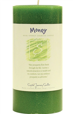Crystal Journey Herbal Magic Pillar Candle 3X6 - Money