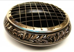 Charcoal Burner - Extra Large Black Carved Brass Screen 6