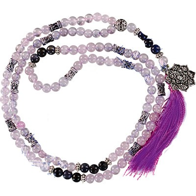 Mala Prayer Beads - Lotus Rose Quartz & Amethyst