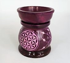 Soapstone Oil Burner - Purple Carved Flowers