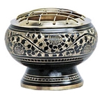 Charcoal Burner - Black Carved Brass Screen 2.5