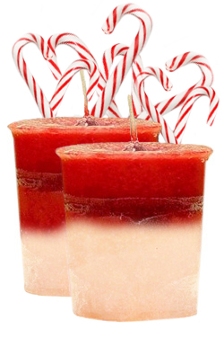 Candy Cane Crystal Journey Traditional Votive Candles [ 2 ]