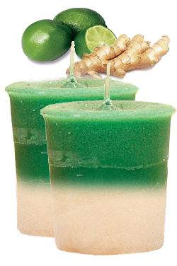 Ginger Lime Crystal Journey Traditional Votive Candles [ 2 ]