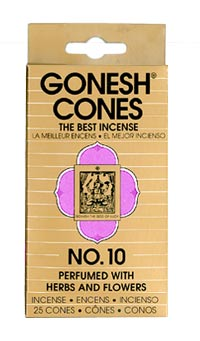 Gonesh Cone Incense - No. 10 Incense Cones