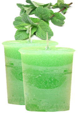 Mint Crystal Journey Traditional Votive Candles [ 2 ]
