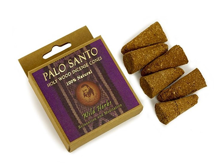 Prabhuji's Gifts Incense - Palo Santo and Wild Herbs Incense Cones - Relaxation & Meditation - 6 Cones