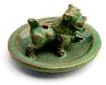Clay Tibetan Incense Burner - Glazed Snow Lion