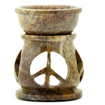 Soapstone Oil Burner - Peace Sign