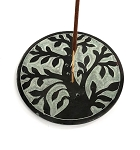 Round Soapstone Tree of Life Incense Burner
