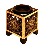 DISCONTINUED - Soapstone Oil Burner - Soapstone Black Square Sun