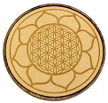 Prayer Plate - Wood Crystal Grid - Lotus / Flower of Life