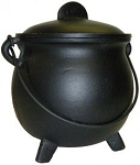 Metal Burner - Tall Black Cauldron W/ Lid (6 Inch)