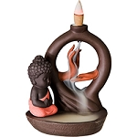 Backflow Incense Burner - Mudra Pose w/ Buddha