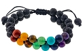 Adjustable Chakra Bracelet w/ Double Row Lava Beads