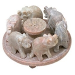 Lucky Elephants - Soapstone Incense Holder