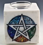 Soapstone Oil Burner - Pentacle White Marble