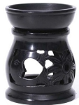 Stone Burner - Black Aroma Lamp - Sun, Moon, and Flower