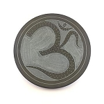 Incense Burner - Black Stone Disk with Om Ash Catcher