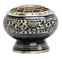 Metal Burner - Charcoal Burner - Black Carved Brass Screen 2.5