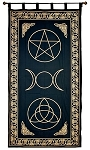 Pentacle, Triquetra, Triple Moon Curtain (Gold) <br><br>
