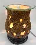 Electric Oil Burner - Ceramic Flower (Brown)
