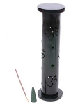Incense Burner Tower- Black Om Stone<br><br>