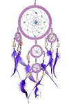 Dream Catcher - Large Pink Beaded with Purple Feathers