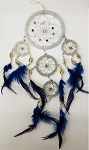 Dream Catcher - Large Quartz Beaded with Blue Feathers
