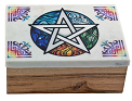 Wooden Box - White Pentacle [Marble Lid]