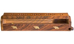 "Wooden Box Burner - Elephant 12""L or 18''L [ Jumbo ]"