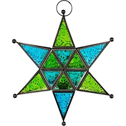 Glass & Metal Candle Lantern 6 pointed Star - Green & Turquoise
