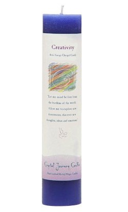 Crystal Journey Herbal Magic Pillar Candle - Creativity