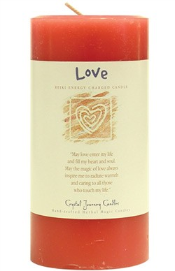 Crystal Journey Herbal 3X6 Pillar Candle - Love