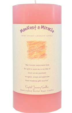 Crystal Journey Herbal Magic Pillar Candle 3X6 - Manifest a Miracle